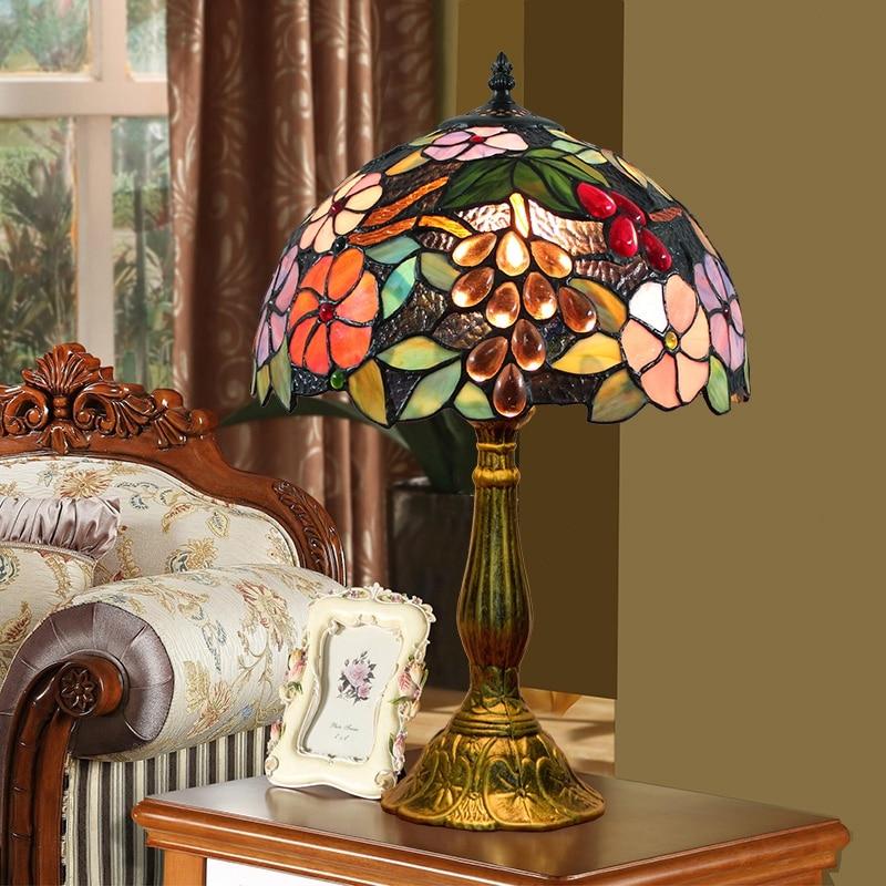 ODIFF American Village Pastoral Grape bar lighting Living room dining Bedroom bedside Childrens room stained glass Desk Lamp