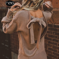 NewAsia Garden Sexy Backless Sweater Women Pullover Knitted Sweater Loose Top Autumn Winter Woman Sweater Knitting Pullovers