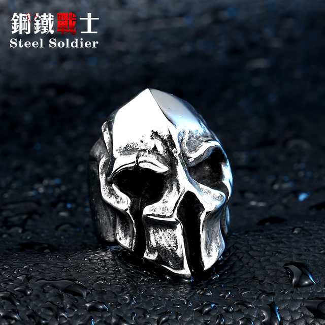 steel soldier good detail factory price men punk skull ring stainless steel fashion jewelry