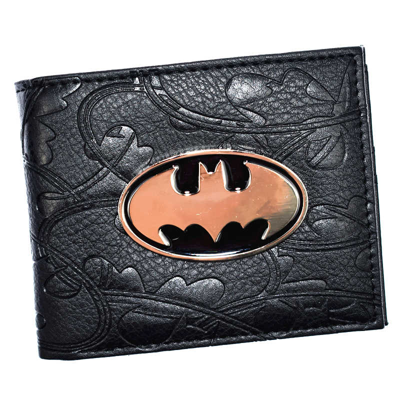 Cool Design Batman Wallet 3D Design Metal Badge Bifold Men Wallets With Coin Pocket