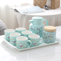 Simple flowers and birds ceramic water kettle cup sets Heat resistant home cold water bottle cup set