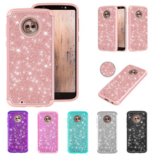 LUCKBUY Fundas luxury Case For Motorola Moto E4 E5 Play Bling Plain Soft TPU 2 in 1 PC Silicone for G6 G6Play
