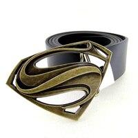 Black Superman Belt High Quality Leather Belts For Men Super Hero Letter S Metal Belt Buckle