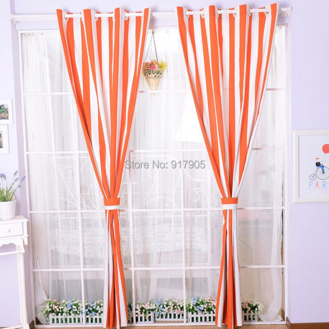 Attirant Fashion Orange And White Striped Sheer Curtains For Living Room,Modern  Custom Made Blackout Curtains