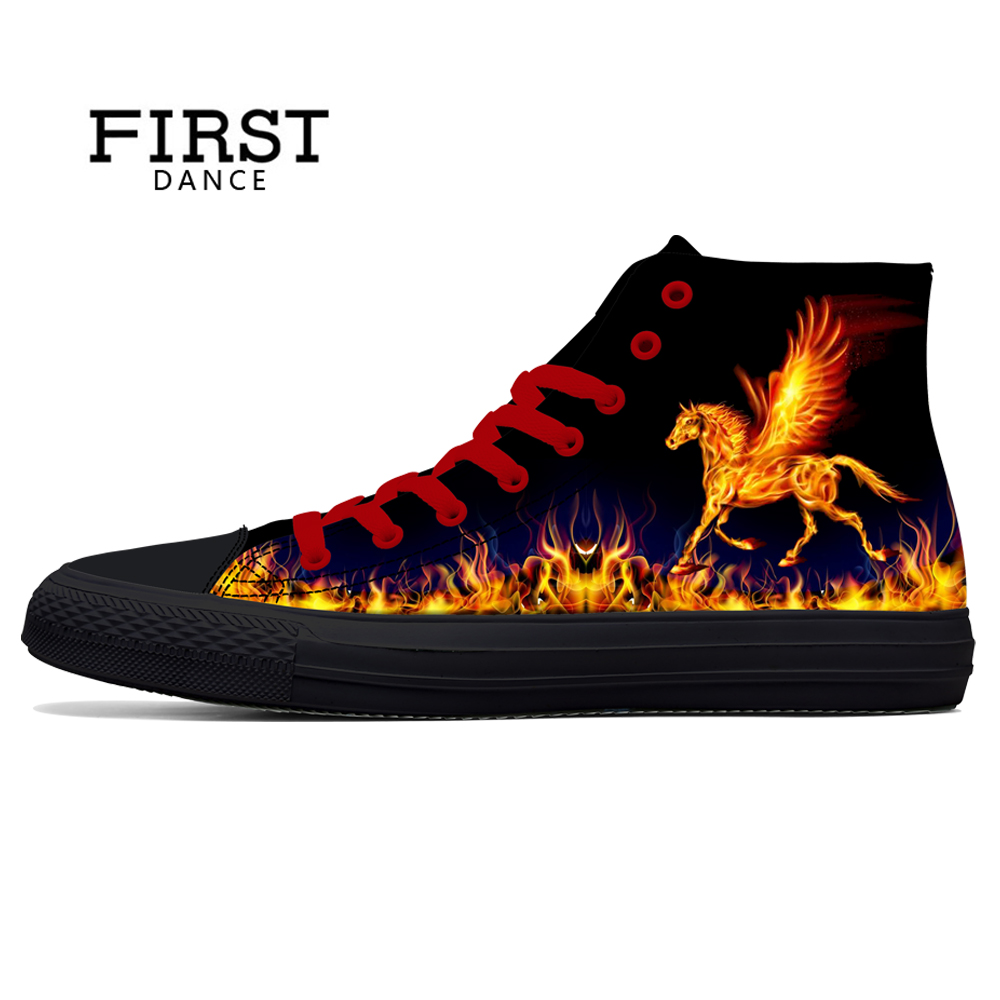 FIRST DANCE Fashion Men Skull Print Shoes Black Mens High Tops Classic Canvas Shoes For Men