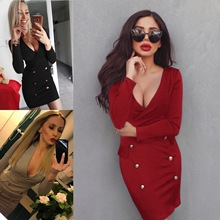 new mama style arrival v-neck solid dress above knee Mini button pockets sheath slim sexy comfortable female