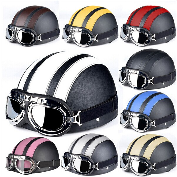 Motorcycle Helmets For Harley Open Face Retro Half Moto Helmets With Goggles Leather Scarf Helmet Accessories ABS Unisex DOT