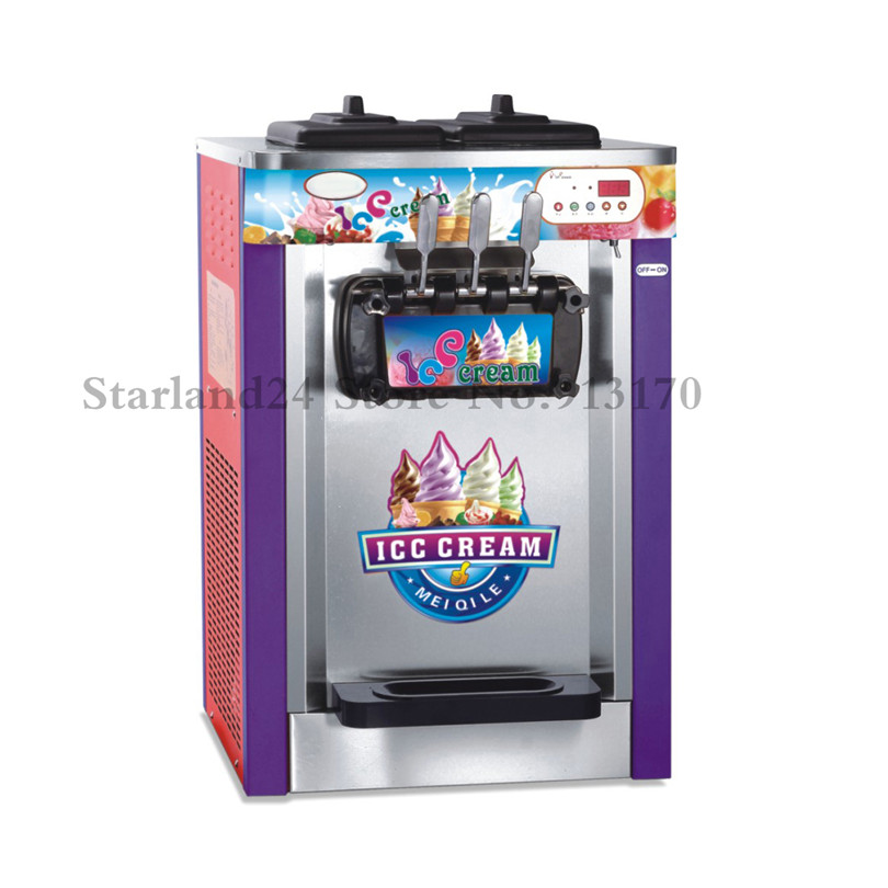 Soft Ice Cream Machine 220V Three Flavors Soft Serve Sundae Ice Cream Machine Brand New Digital Control CE Approval desktop soft ice cream machine stainless steel soft serve maker 220v with digital control ice cream cone 22 25liters h capacity
