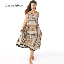 Azalea House Sexy Women Dress National African Style Mid Calf Loose Print Backless Cross Bandage Straped Dress