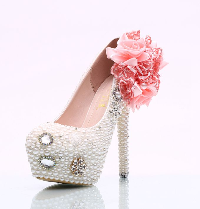 Pink flowers white pearls wedding shoes woman super high thin heels ladies party proms dress proms party shoes womens HS107