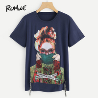 ROMWE Figure Print Pearl Embellished Tee Shirt 2018 New Fashion Navy Letter Woman Top Round Neck