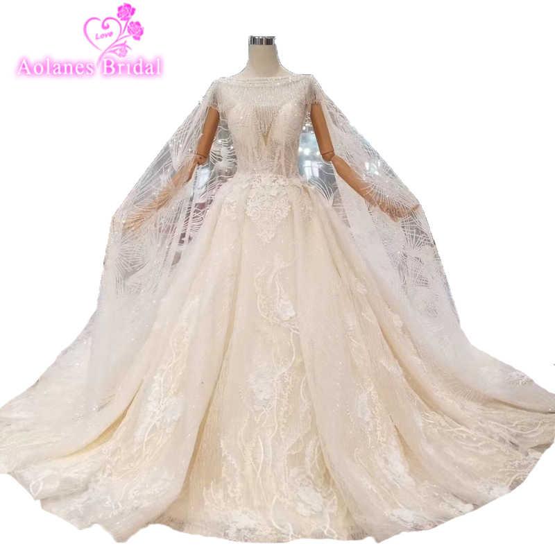African Moroccan Kaftan Glitter Arabic Muslim Ball Gown Wedding Dresses Turkish Dubai Lace With Shawl Veils Formal Bridal Dress
