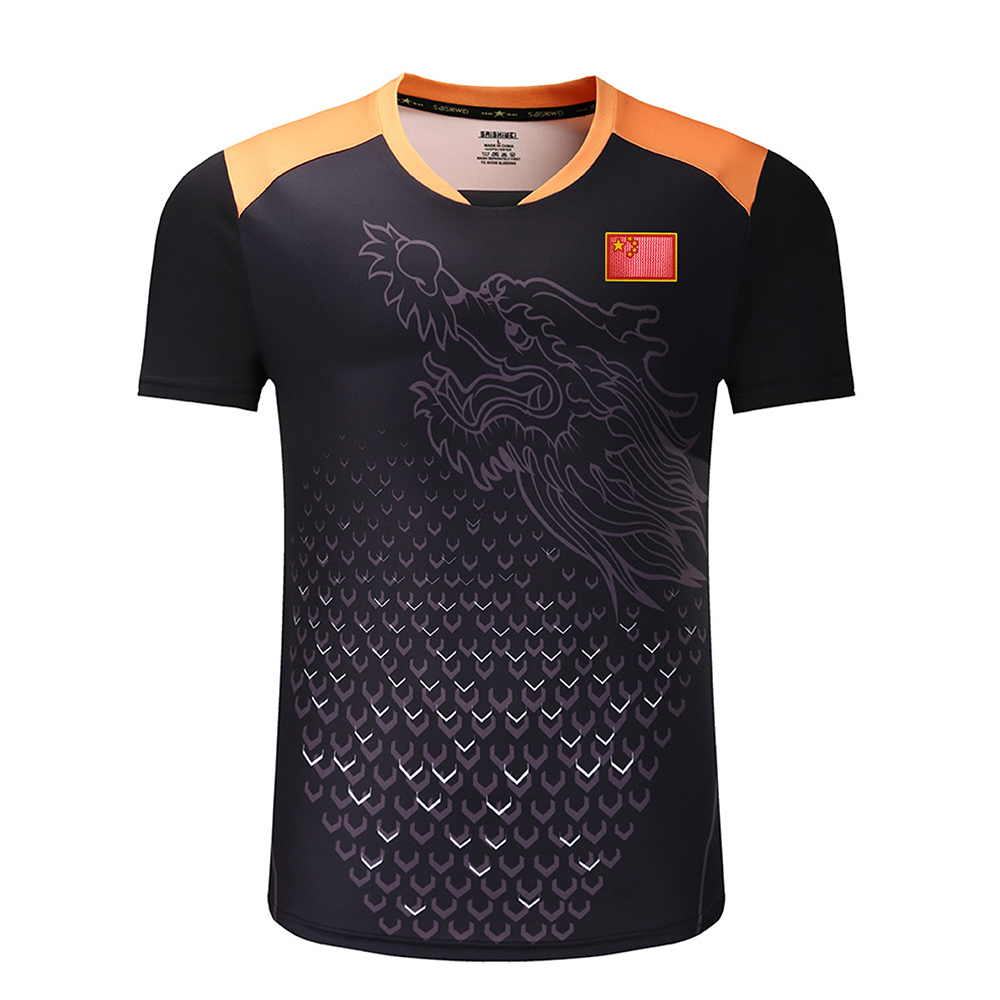 New CHINA Dragon Table Tennis Shirts Men With Flag, Ping Pong Shirts , Table Tennis Clothing , Table Tennis Sport Shirts