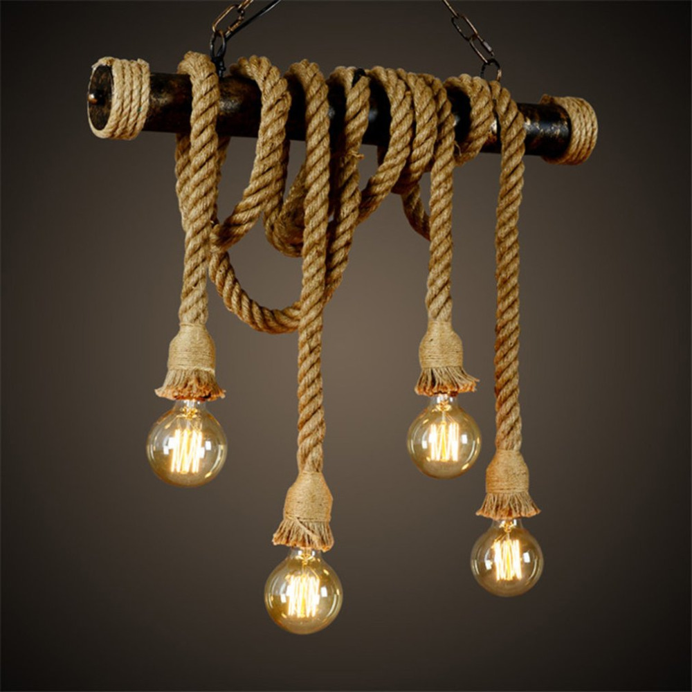 Vintage Industrial Decor Pendant Double Head Wood Lamp E27 Edison Rope Restaurant Themed Decor Hemp Rope Coffee Bar