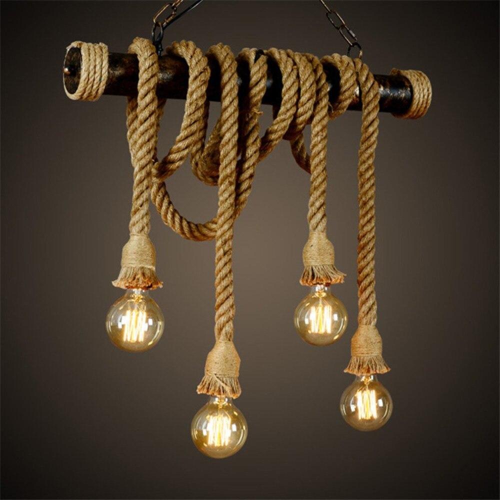 Vintage Industrial Decor Pendant Double Head Wood Lamp E27 Edison Rope Restaurant Themed Decor Hemp Rope Coffee Bar
