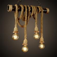 Vintage decoración Industrial colgante doble cabeza madera lámpara E27 Edison cuerda restaurante decoración temática cuerda de cáñamo Café Bar