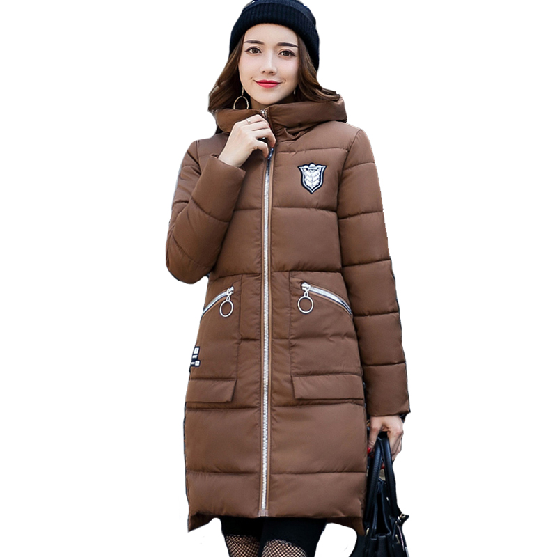 Stand collor long cotton padded warm women winter jacket solid color hooded female coat parka black casaco feminina 2017 women winter cotton jacket long women coat thick hooded collor female warm clothes parka high quality cotton coats qh0377