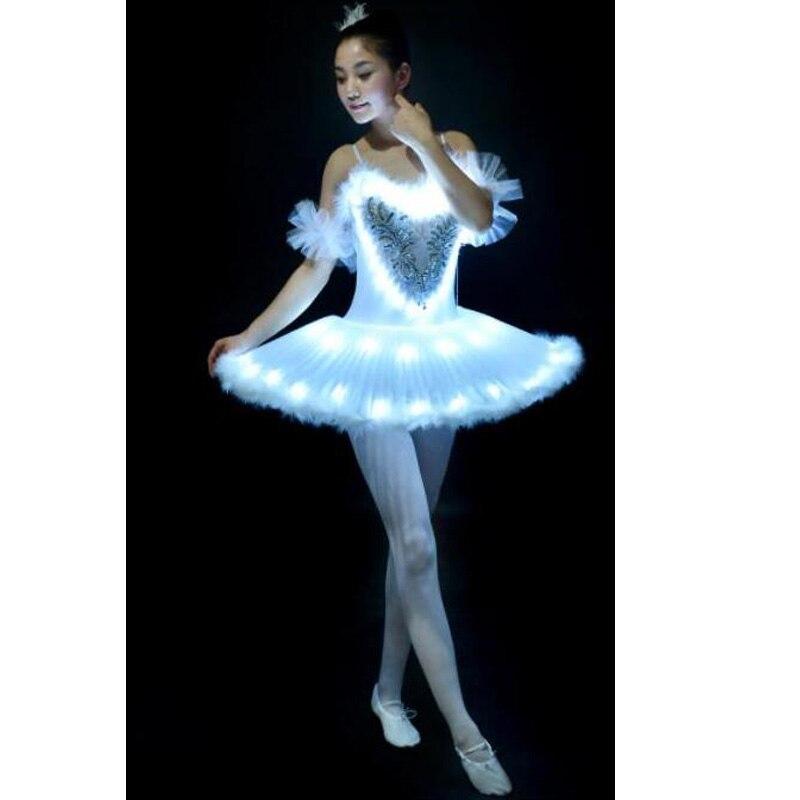 12 pièces Tutu Ballet Led lac des cygnes adulte fille Ballet vêtements crêpe Tutu femmes ballerine robe pour fête enfants Costumes