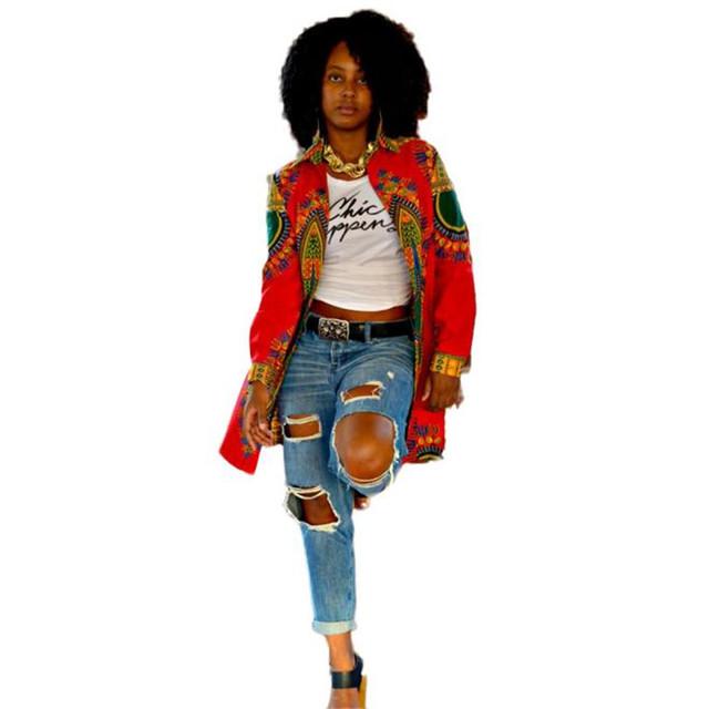 Durable Moda mujeres abrigo imprimir Mujer de Manga Larga de Moda de Impresión Africano Dashiki Africano Chaqueta Larga