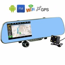 "VRFEL 5 ""automotive DVR GPS navigation Wifi Android full HD 1080P truck digicam twin lens parking rearview mirror digicam video recorder"