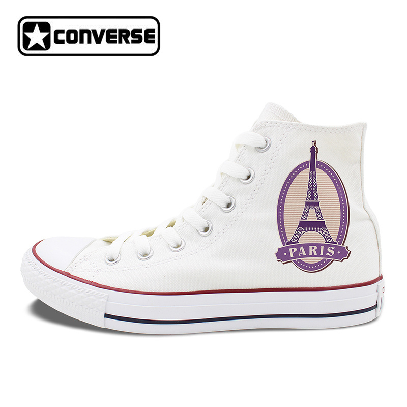 Paris Eiffel Tower Postmark Design Converse Canvas Sneakers Chucks Taylor Man Woman High Top Skateboarding Shoes