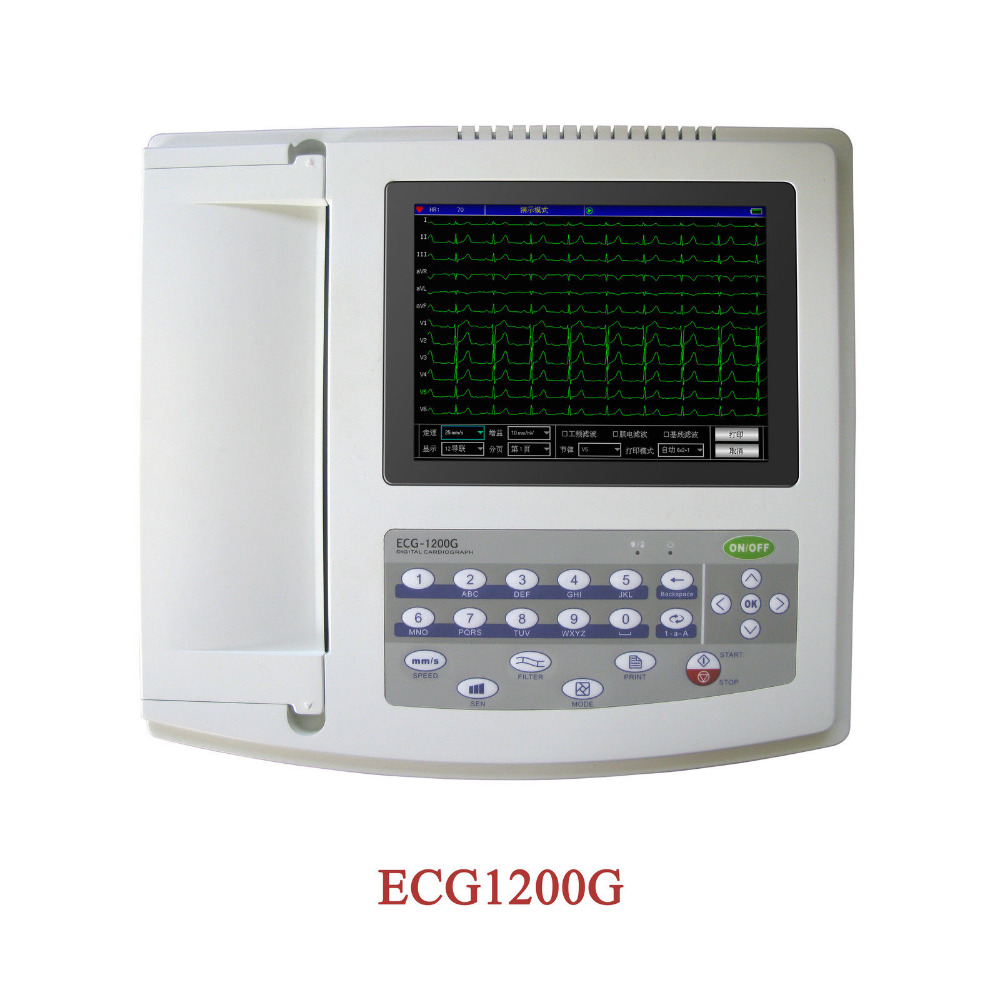 Contec 12 Canaux 12 ECG/EKG D'électrocardiographe, D'analyse En Temps Réel NOUVEAU ECG1200G