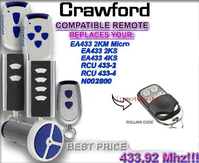 Crawford EA433 2KM MICRO,EA433 2KS RCU 433-2 N002800 remote control replacement DHL free shipping