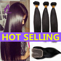 8A Indian Straight Hair With Closure Raw Indian Virgin Hair Weave 3 Bundles With Closure Human Hair Bundles With Lace Closures