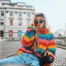 Danjeaner Turtleneck Thick Knitted Swearers Women Winter Rainbow Striped Pullovers Streetwear Oversized Sweater Jumpers Knitwear