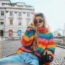 Danjeaner Turtleneck Thick Knitted Swearers Women Winter Rainbow Striped Pullovers Streetwear Oversized Sweater Jumpers Knitwear