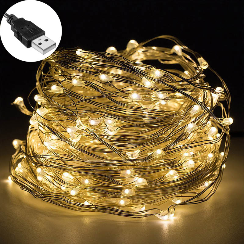 5M USB LED String Light Waterproof LED Copper Wire String Holiday Outdoor Fairy Lights For Christmas Party Wedding Decoration
