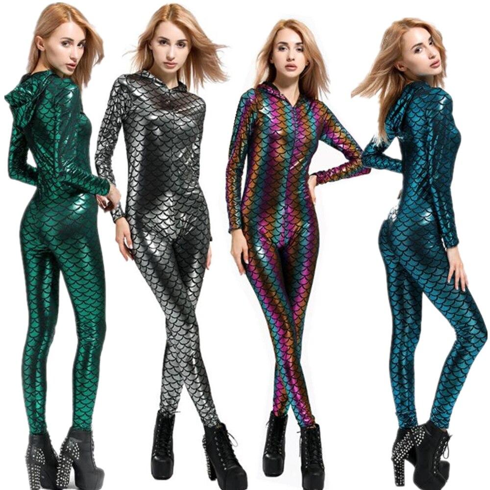 Mermaid Mackerel Scale Jumpsuit Catsuit Sexy Cosplay Costumes Halloween Women Bodysuit Fancy Dress