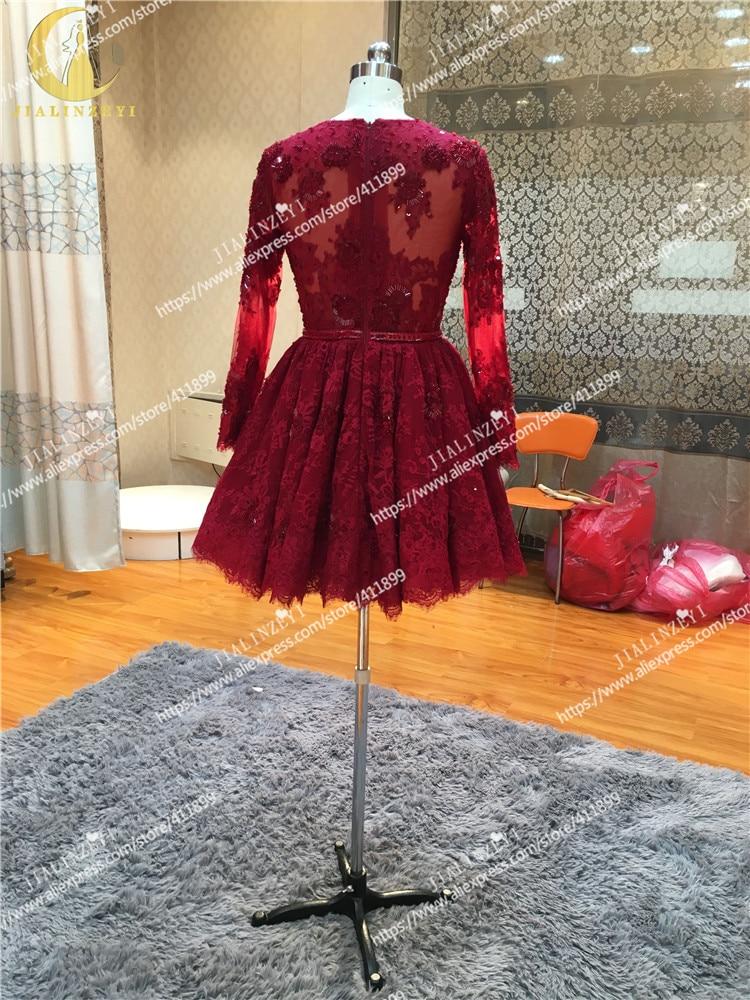mangas compridas contas moda novo mini comprimento vestido de baile