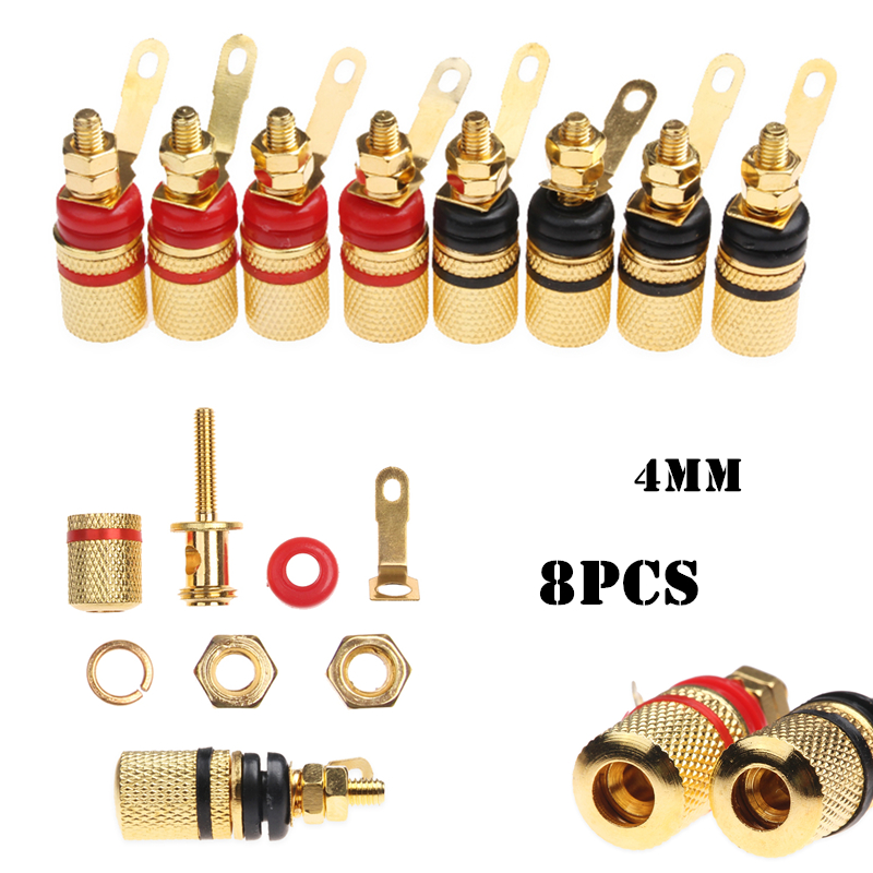 8pcs Binding Post Banana Plugs For Audio & Video 4mm Gold plated Speaker Spade Terminals Socket Connector Set Red Black jtron m4 x 16 gold plated hexagon socket speakers screws red gold 4 pcs