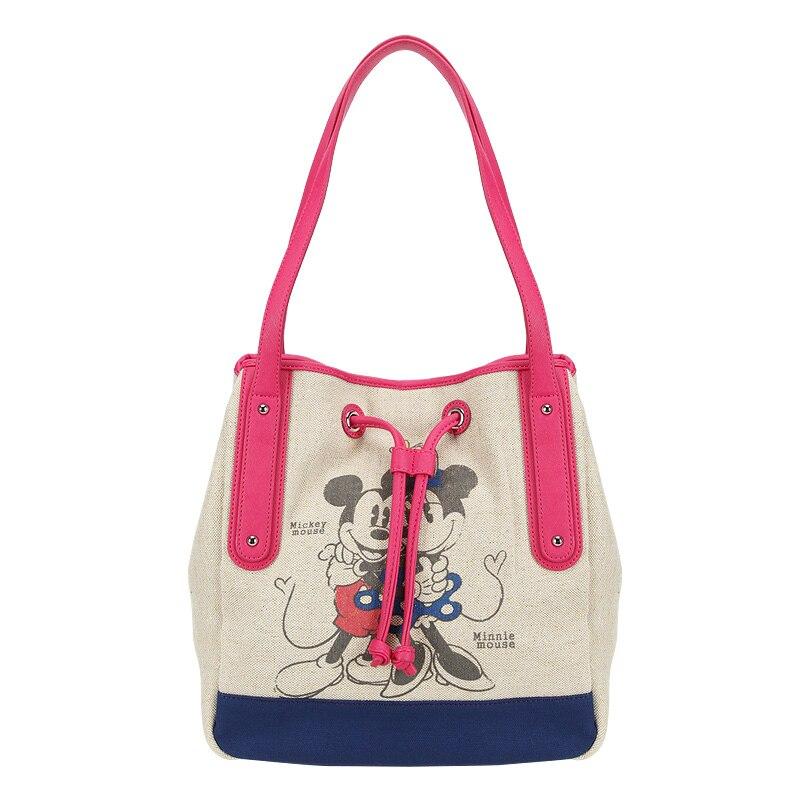 Disney Mickey mouse plush backpack bag cartoon lady canvas bag shoulder girl handbag women Bucket bag