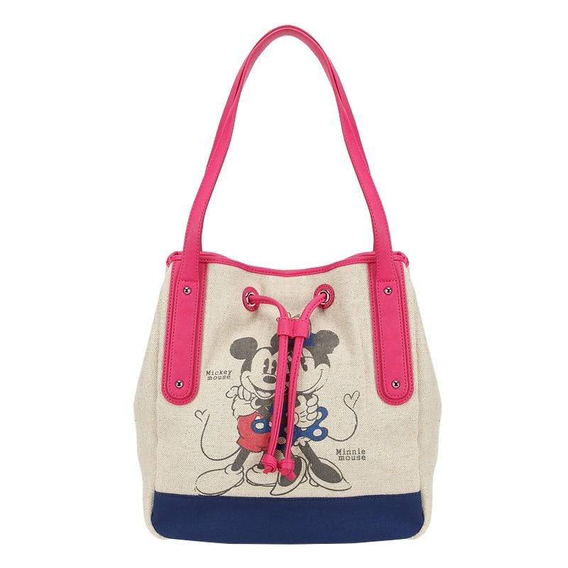 ディズニーミッキーマウスぬいぐるみバックパックバッグ漫画の女性キャンバスバッグショルダーガールハンドバッグ女性バケットバッグ巾着高容量  グループ上の おもちゃ & ホビー からの ぬいぐるみバックパック の中 1