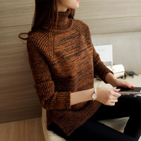 56 Korean Winter New Knitting Dress Thickening Raglan Sleeve Lapel Flower Yarn Sweater F1519