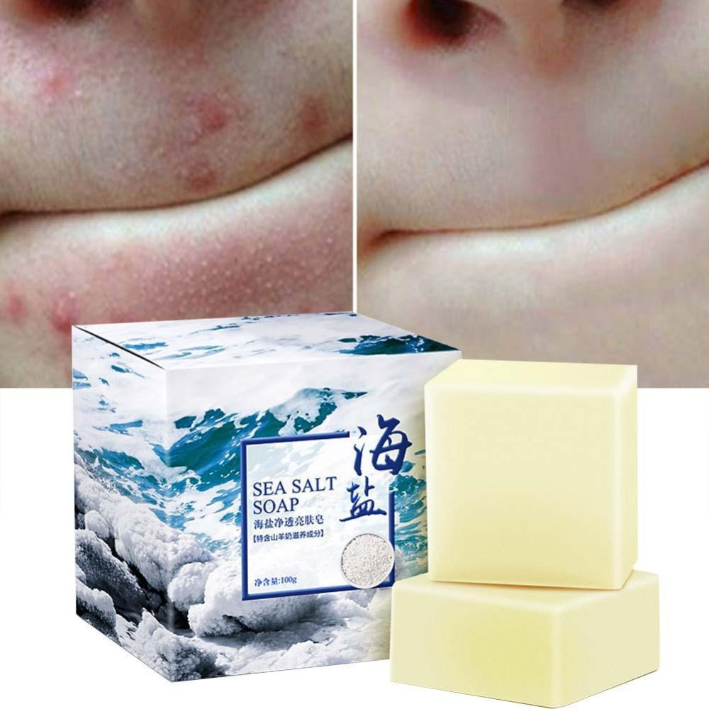 100g Sea Salt Soap Cleaner Removal Pimple Pores Acne Treatment Goat Milk Moisturizing Face Wash Soap Base Skin Care Savon Au Hot