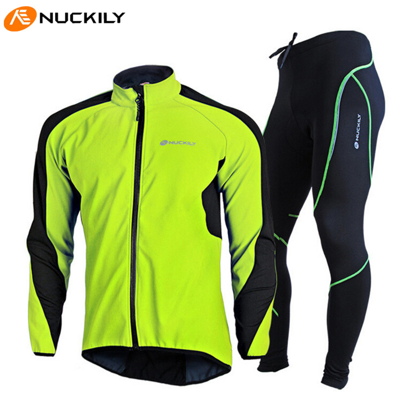 NUCKILY Cycling Windproof Jacket Bicycle Jersey Set Full Sleeves Winter Fleece Thermal Sportwear 3D Padded Bike Bicycle Clothing arsuxeo warm up fleece thermal cycling bike bicycle jersey winter windproof long sleeve jacket men s outdoor sports clothing