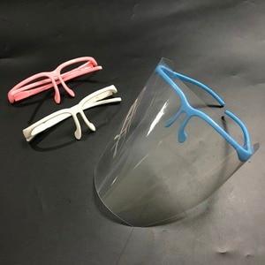 Image 2 - מתכוונן להסרה שיניים מגן מסכת ערכת 10 PCS מלא מגן פנים Visors + 1 מסגרת אנטי ערפל Dustproof מעבדה ציוד