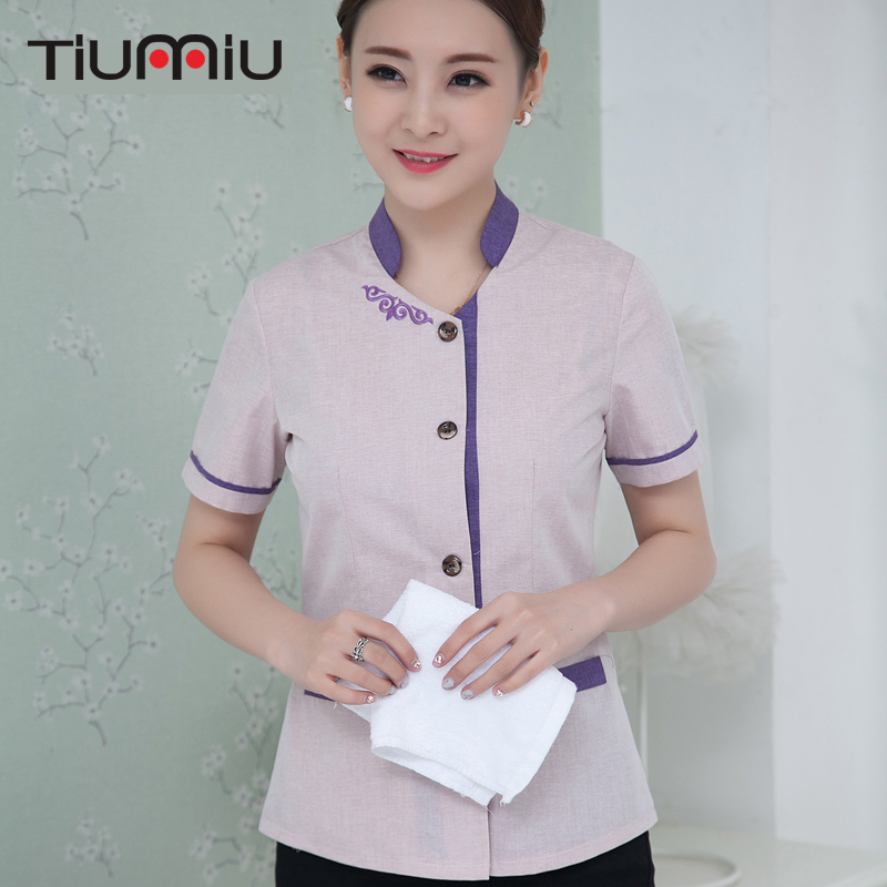 Summer Cleaning Uniforms Short-sleeved Work Uniforms Single-breasted Cleaning Service Jacket Men Women Cleaning Service Uniforms