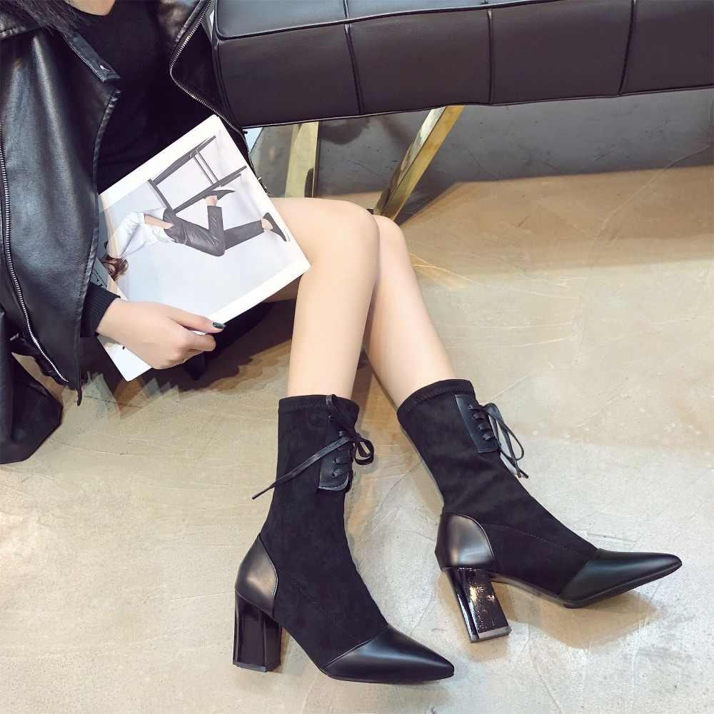 BONJOMARISA Yeni Slip-on Zarif orta buzağı Çizmeler Kadın Sonbahar 2019 Moda Olgun Patchwork OL Kadın Yüksek Topuklu ayakkabı Kadın