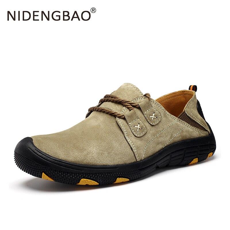 Genuine Leather Superwave Walking Shoes Men Streetwear Comfortable Sport Shoes Breathable Wearable Sneakers Khaki Tan Gray 39-44