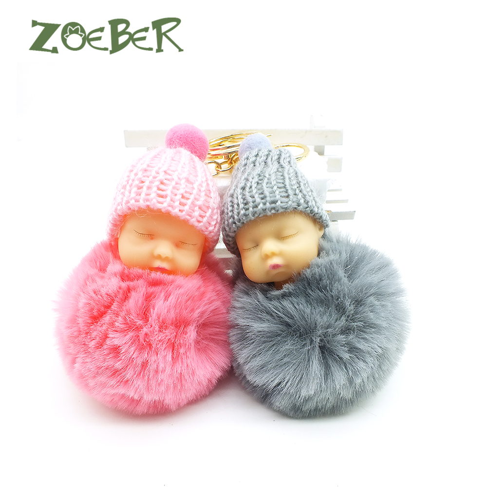 цена на ZOEBER Baby Toy Key Chain Sleeping Baby Doll Keychain Pompom Rabbit Fur Ball Car Keyring Women Key Holder Bag Pendant Jewelry