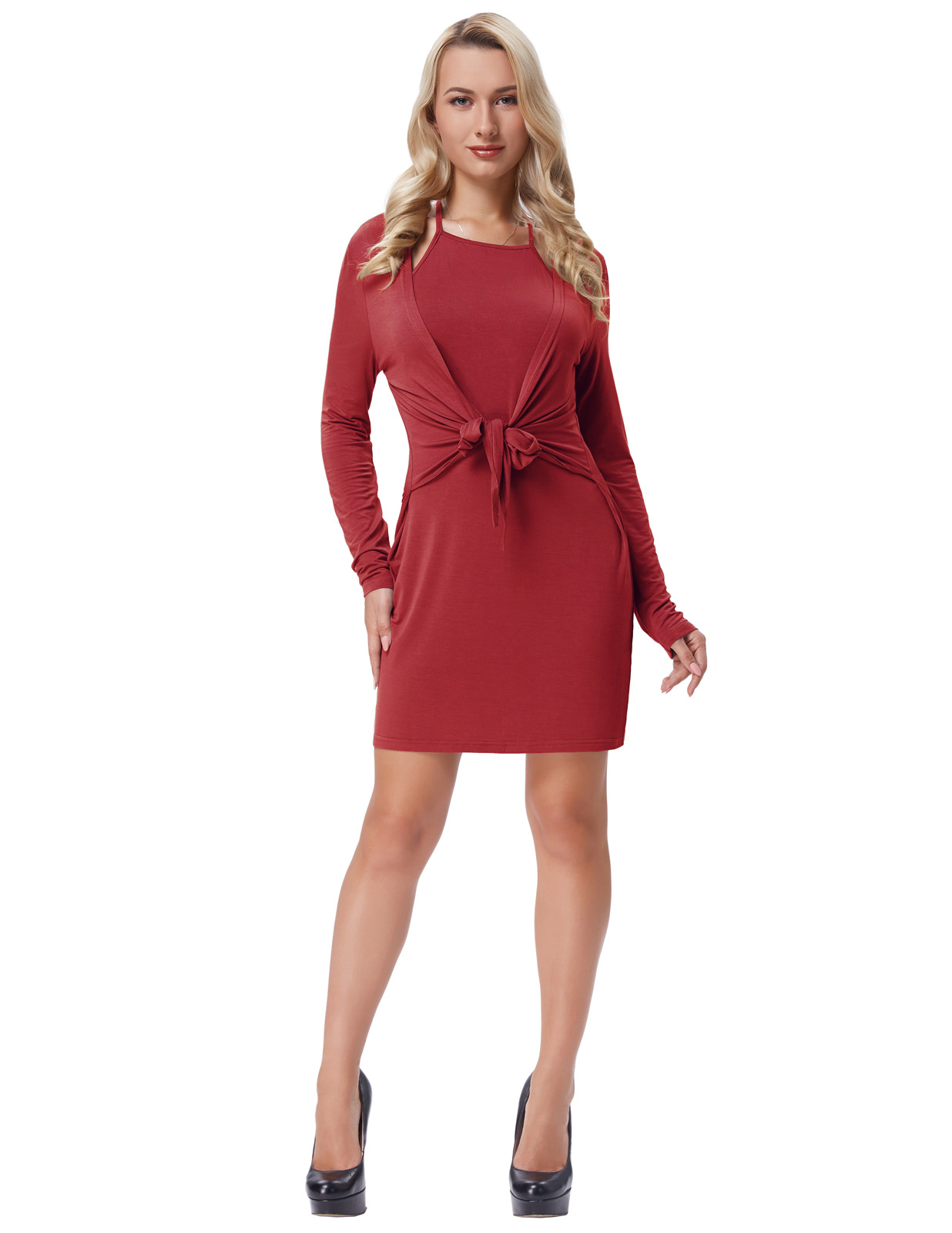 summer clothes for women summer Sexy Women Comfortable Long Sleeve Faux Twin Set Hips-Wrapped Modal Dress plus size 2018