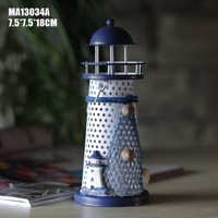 Free Shipping 1pcs Lot 18cm Middle Size Mediterranean Style Iron Home Nautical Decoration Lighthouse Candle Holder