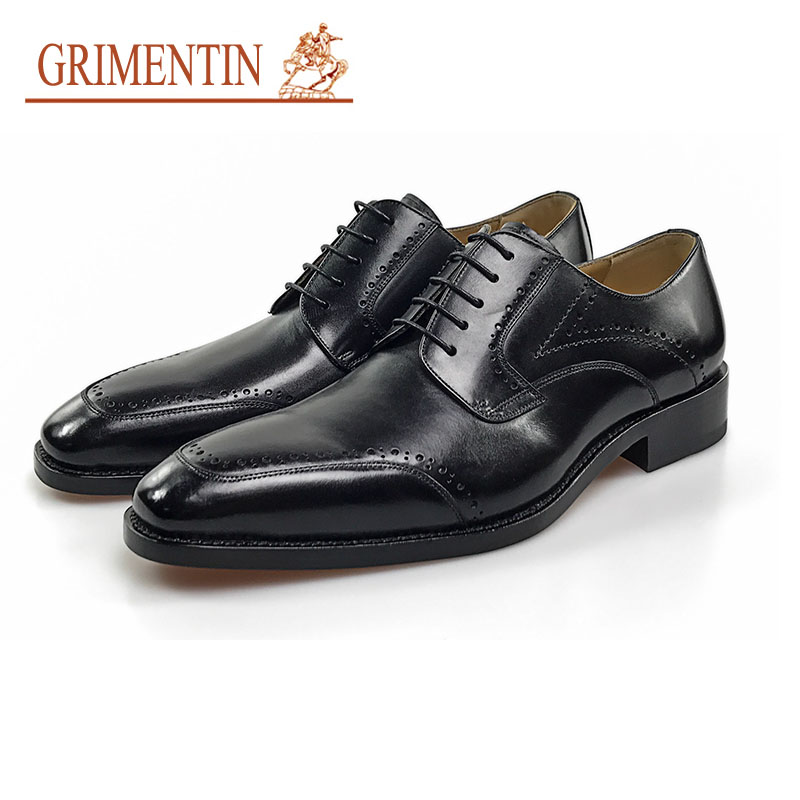 GRIMENTIN brand handmade business shoes men genuine leather lace up black brown formal shoes oxford shoes портмоне mano business 19008 19008 brown