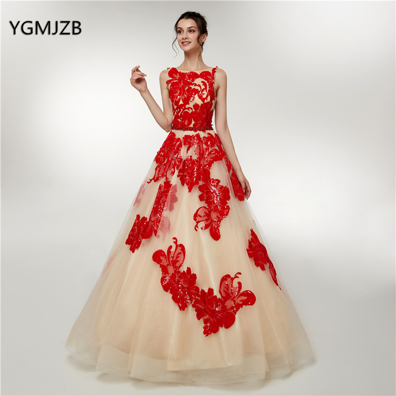Luxury Champagne Long   Prom     Dress   2018 New Red Sequined Glitter Backless Elegant Dubai Moroccan Formal Evening Gown Party   Dresses