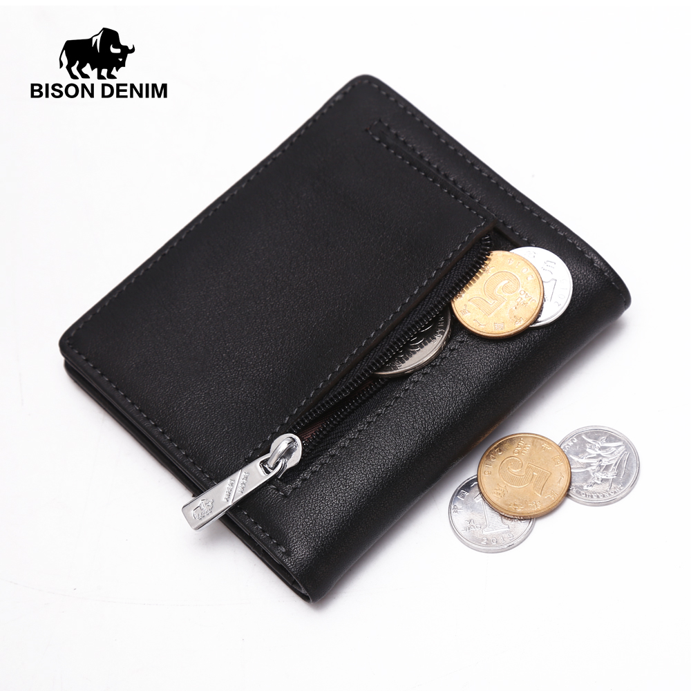 BISON DENIM Fashion Purse Men's Genuine Leather Mini Wallet Card Holder Small Zipper Coin Purse W9317-1B