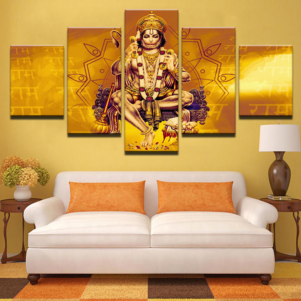 Modular Pictures Framework HD Printed Modern Canvas 5 Panel Lord Hanuman Shri Ram Home Decoration Living Room Wall Art Painting